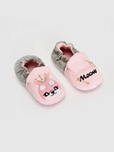Kız Bebek Nakış Detaylı Yürüme Öncesi Ayakkabı