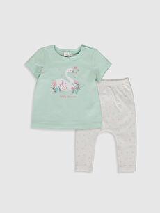 Mavi Organik Pamuklu Kız Bebek Tişört ve Pantolon 0SI512Z1 LC Waikiki