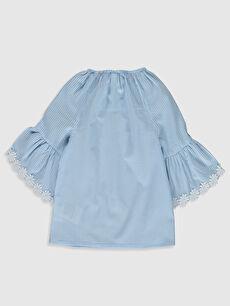 %100 Pamuk Standart Çizgili Uzun Kol Bluz Kız Bebek Çizgili Poplin Bluz