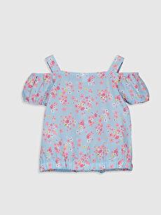 %100 Pamuk Standart Baskılı Kısa Kol Bluz Kız Bebek Desenli Bluz