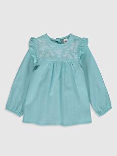 Kız Bebek Desenli Twill Bluz