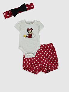 Kız Bebek Minnie Mouse Baskılı Takım 3'lü