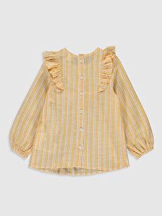 %100 Pamuk Standart Çizgili Uzun Kol Bluz Kız Bebek Çizgili Bluz