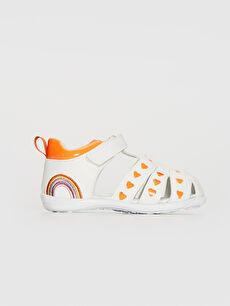Beyaz Kız Bebek Parlak Görünümlü Cırt Cırtlı Sandalet 0SC055Z1 LC Waikiki