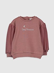 Kız Bebek Yazı Baskılı Sweatshirt