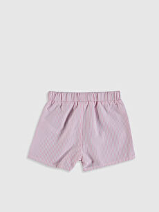 %61 Pamuk %39 Polyester Şort Kız Bebek Çizgili Şort