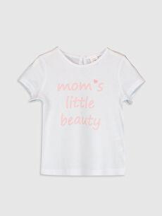 Beyaz Kız Bebek Yazı Baskılı Pamuklu Tişört 0SF125Z1 LC Waikiki
