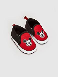 Kırmızı Erkek Bebek Mickey Mouse Baskılı Bez Yürüme Öncesi Ayakkabı 0SF848Z1 LC Waikiki