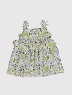 Ekru Kız Bebek Baskılı Elbise 0SP626Z1 LC Waikiki