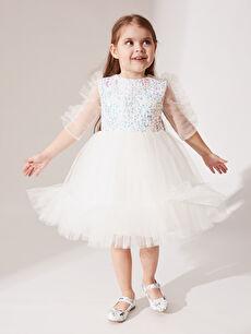 Baskılı Elbise Daisy Girl Kız Bebek Payetli Abiye Elbise