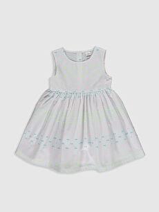 Beyaz Kız Bebek Desenli Poplin Elbise 0SS956Z1 LC Waikiki
