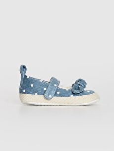 Kız Bebek Cırt Cırtlı Fiyonk Detaylı Yürüme Öncesi Ayakkabı