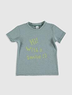 Erkek Bebek Slogan Yazı Baskılı Tişört