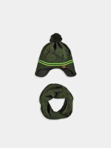 Boy's Pompom Knitwear Hat and Neck Collar
