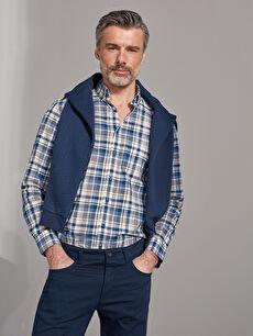 Regular Fit Figured Chequered Cotton Shirt