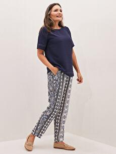 Desenli Viskon Kadın Havuç Pantolon