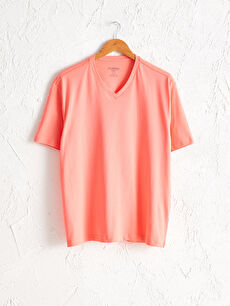 V Yaka Kısa Kollu Basic Pamuklu Erkek Tişört
