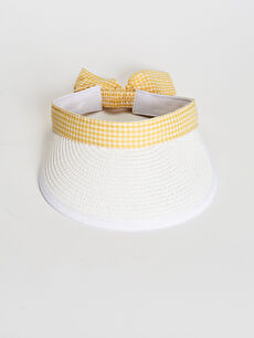 Kuşak Detaylı Hasır Vizör Şapka