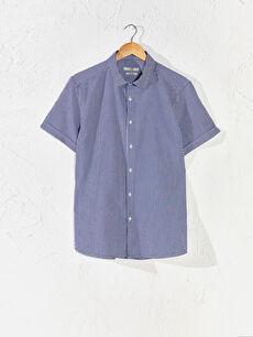 Slim Fit Kısa Kollu Gofre Gömlek