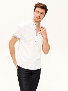 Slim Fit Kısa Kollu Armürlü Gömlek