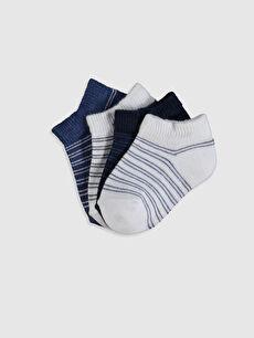 Erkek Bebek Çizgili Patik Çorap 4'lü