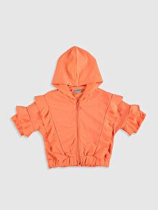 Kız Çocuk Fırfırlı Fermuarlı Sweatshirt