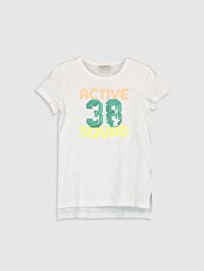 Kız Çocuk Baskılı Pul İşlemeli Tişört