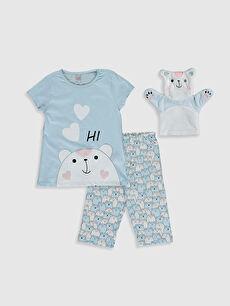 Kız Çocuk Baskılı Pijama Takımı ve Oyuncak