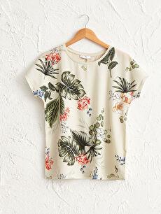Çiçek Desenli Viskon Tişört