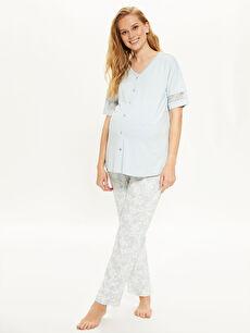 Dantel Detaylı Viskon Hamile  Pijama Takımı