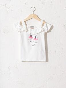 Kız Çocuk Omuzu Açık Baskılı Tişört