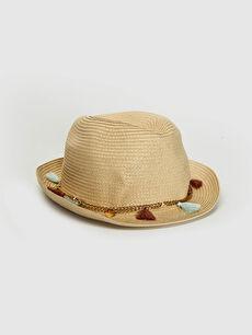 Kız Çocuk Zincir Detaylı Hasır Fötr Şapka