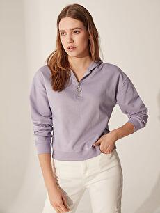 Yakası Fermuarlı Kapüşonlu Sweatshirt
