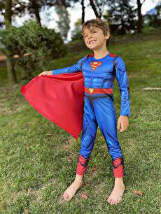 Bisiklet Yaka Uzun Kollu Erkek Çocuk Superman Kostüm