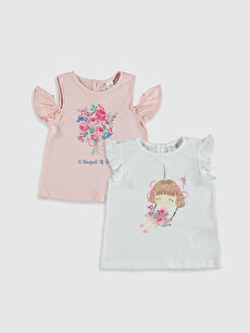 Kız Bebek Pamuklu Baskılı Tişört 2'li