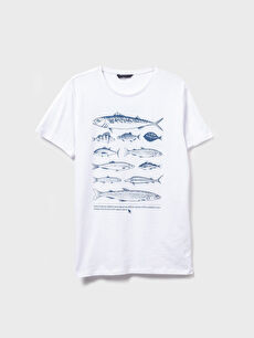 Balık Baskılı Tişört Baba Oğul Kombini