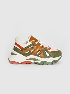 Kadın Kalın Taban Renk Bloklu Spor Ayakkabı