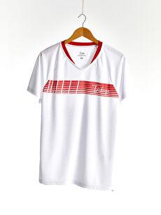 V Yaka Kısa Kollu UEFA EURO 2020 Türkiye Baskılı Aktif Spor Erkek Taraftar Tişört