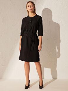 Kuşaklı Poplin Elbise