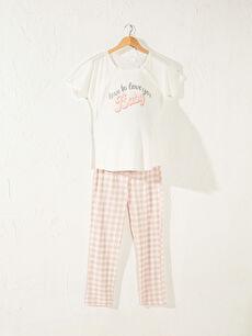 Slogan Baskılı Pamuklu Hamile Pijama Takımı