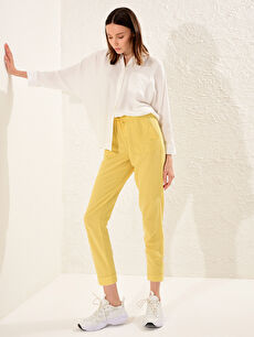 Sarı LCW CASUAL Beli Lastikli Cep Detaylı Bilek Boy Keten Pantolon