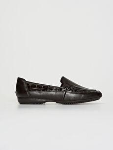 Siyah Kadın Kroko Desenli Klasik Şık Ayakkabı
