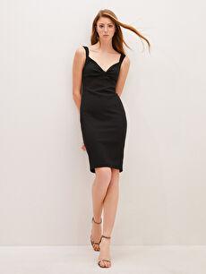 Appleline Yakası Büzgü Detaylı Askılı Kalem Elbise