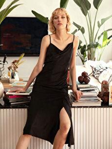 Siyah Büzgü Detaylı İnce Askılı Saten Elbise
