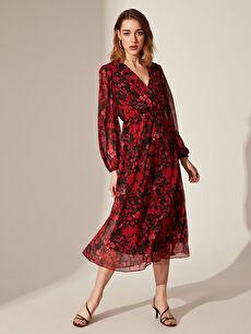 Quzu Kruvaze Yaka Çiçek Desenli Şifon Elbise
