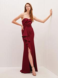 Appleline Fırfır Detaylı Straplez Abiye Elbise