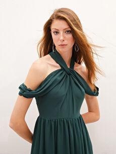 Appleline Yakası Tül Detaylı Şifon Abiye Elbise