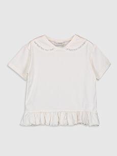 Kız Çocuk Dantel Detaylı Pamuklu Tişört