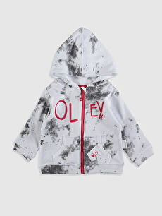 Erkek Bebek Baskılı Fermuarlı Sweatshirt