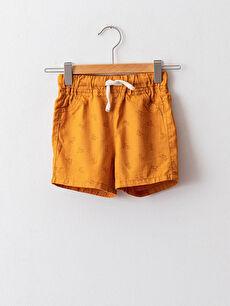 Elastic Waist Printed Gabardine Baby Boy Shorts